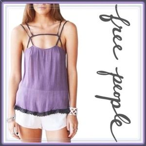 Free People strappy camisole purple tank top XS